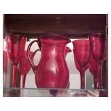 Red Pitcher with Glasses