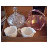 Hobnail White Glass Color Sugar and Creamer Lot