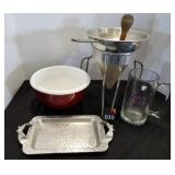 Vintage Sieve, Tray, Bowl & Mug
