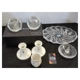 Crystal Votives, Plate, Candlestick Holders & Dish