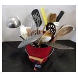 Bucket of Misc Kitchen Utensils