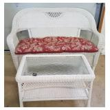 Wicker Love Seat & Glass Top Table