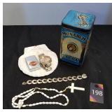 Vintage Tin, Watch, Bracelet, Rosary & Half Shell