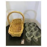 Wicker Basket & Sundae Dishes