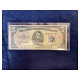 1953 B series $5 silver cert
