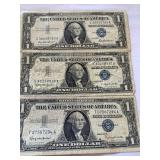 2 1957 B and 1 1957 silver certificates