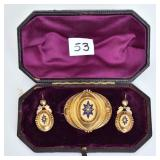 Victorian Enameled Brooch and Earring Set