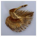 Tiffany 18k Gold Feather Brooch