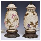 Pair of Royal Worcester Basket Weave Jars