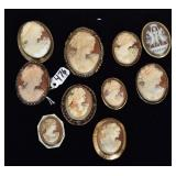 Group of 10 Cameo Brooches