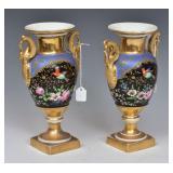 Pair of Old Paris Porcelain Urns