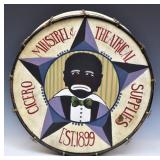 Minstrel Folk Art Decorated Bass Drum