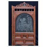 Etched Glass Oak Saloon Door