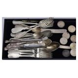 Group of Coin and Russian Silver Flatware