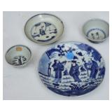 Group of Four Chinese Blue and White Articles