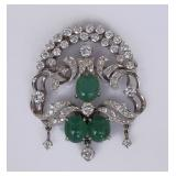 14k Gold Diamond and Emerald Brooch