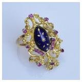 14k Gold Ruby and Blue Enameled Ring