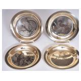 Four Sterling Silver Audubon Plates