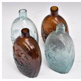 Four Sheppard Historical Flasks