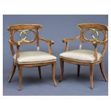 Pair of Walnut Baltic Arm Chairs
