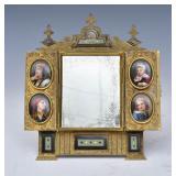Bronze Enameled Table Mirror
