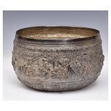 Burmese Silver Repousse Thabeik Bowl