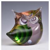 Murano Cenedese Green Art Glass Owl