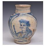 Italian Faience Blue and White Portrait Jar