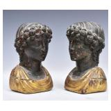 Pair of Classical Carved Wooden Busts