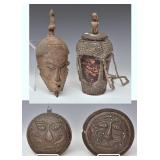 African Mask and Lidded Vessel