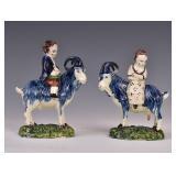 Pair Staffordshire Creamware Figures