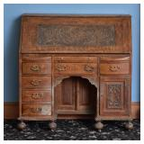Carved Oak Knee Hole Desk