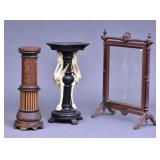 Two Victorian Pedestals and a Firescreen