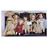 Group of Seven German Bisque Dolls