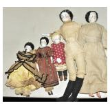 Five China Head Dolls