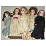 Five Bisque Dolls