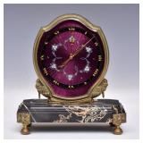 Gubelin Brass and Marble Desk Clock