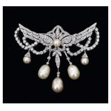 18k Gold Diamond and Pearl Brooch