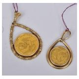 Two Gold Chinese Coin Pendants