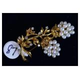 18k Gold Pearl and Diamond Brooch