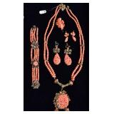 Victorian Carved Coral Jewelry