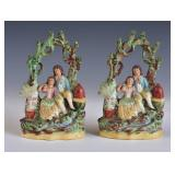 Pair of Staffordshire Creamware Garnitures
