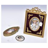Group of Miniature Painted Portraits (3)
