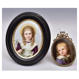 Two Porcelain Portrait Miniatures