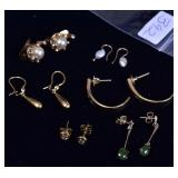 Six Pairs of Gold Earrings