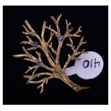 14k Gold Tree Brooch