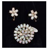 14k Gold Opal Brooch and Earring Set