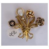 14k Gold Floral Spray Diamond Brooch