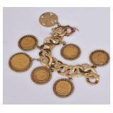 14k Gold Bracelet with American Gold Coins