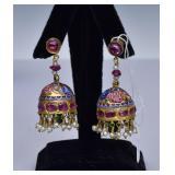 Italian 14k Gold Enameled Earrings